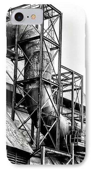 Bethlehem Steel - Black And White Industrial IPhone Case by Bill Cannon