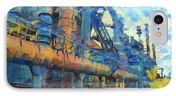 Bethlehem Steel Mill Watercolor IPhone Case by Bill Cannon