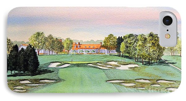 IPhone Case featuring the painting Bethpage State Park Golf Course 18th Hole by Bill Holkham
