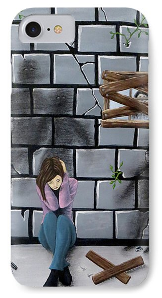 IPhone Case featuring the painting Beyond The Wall by Teresa Wing