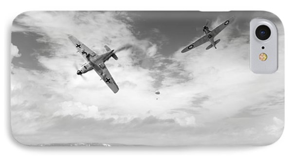 IPhone 7 Case featuring the photograph Bf109 Down In The Channel Bw Version by Gary Eason