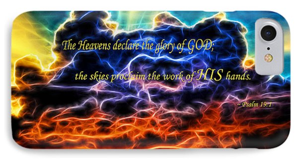 IPhone Case featuring the photograph Biblical Electrified Cumulus Clouds Skyscape - Psalm 19 1 by Shelley Neff
