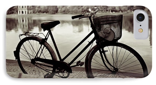 Bicycle By The Lake IPhone Case by Dave Bowman