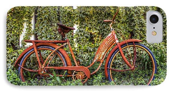 Bicycle In The Garden IPhone Case by Debra and Dave Vanderlaan