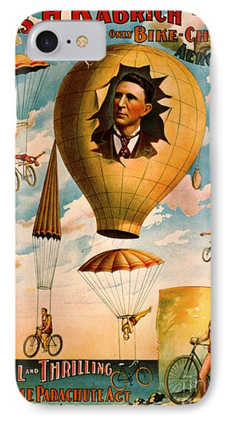 IPhone Case featuring the photograph Bicycle Parachute Act 1896 by Padre Art