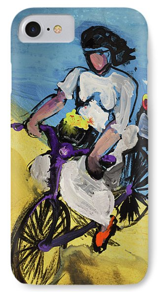 Bicycle Riding With Baskets Of Flowers IPhone Case