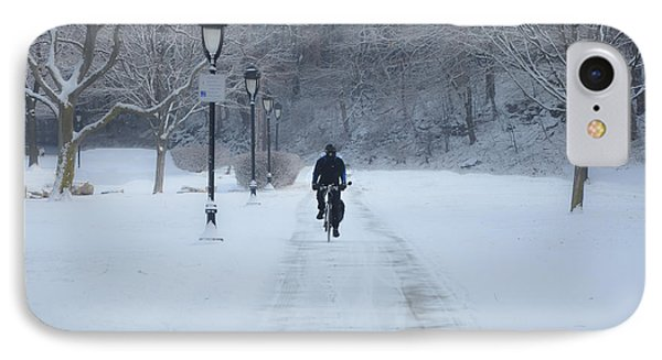 Bicycling In The Snow - Fairmount Park IPhone Case by Bill Cannon