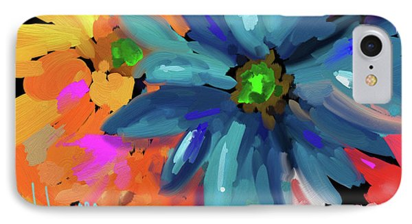 IPhone Case featuring the painting Big Blue Flower by DC Langer