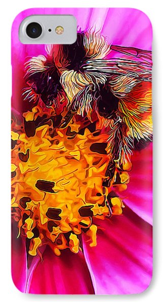 Big Bumble On Pink IPhone Case by ABeautifulSky Photography
