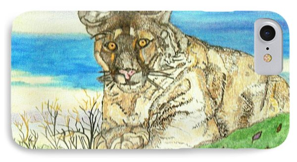 IPhone Case featuring the painting Big Cat Watching Out For Prey by Connie Valasco