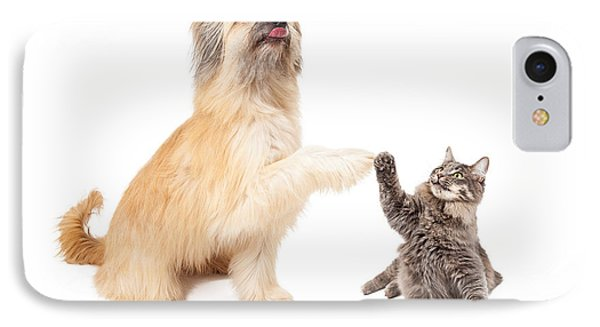 Big Dog And Little Cat High Five IPhone Case by Susan Schmitz