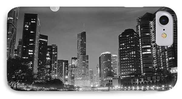 Big Full Chicago Moon  IPhone Case by Frozen in Time Fine Art Photography