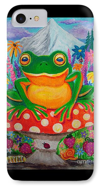 Big Green Frog On Red Mushroom Phone Case by Nick Gustafson