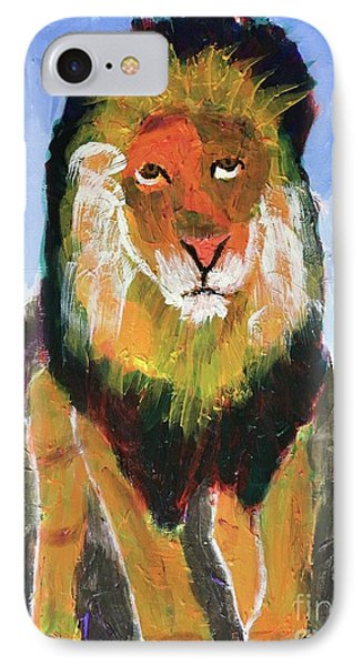 IPhone Case featuring the painting Big Lion King by Donald J Ryker III