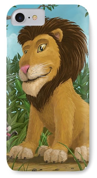 Big Lion Small Cat Phone Case by Martin Davey