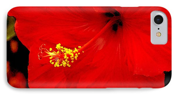 Big Red Caribbean Hibiscus Phone Case by Leonard Rosenfield