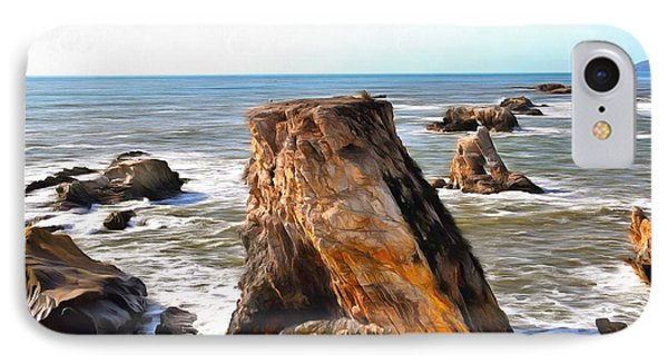 IPhone Case featuring the photograph Big Rocks In Grey Water Painting by Barbara Snyder