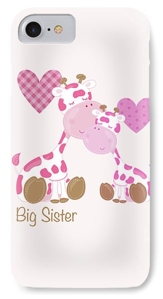 Big Sister Cute Baby Giraffes And Hearts IPhone Case by Tina Lavoie