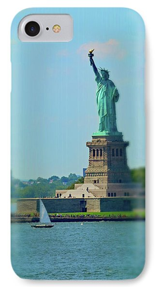 Big Statue, Little Boat IPhone 7 Case by Sandy Taylor