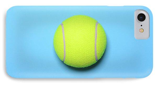 Big Tennis Ball On Blue Background - Trendy Minimal Design Top V IPhone Case by Aleksandar Mijatovic