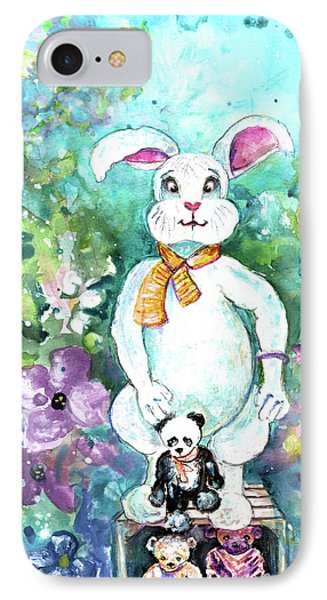 Big White Rabbit And Teddy Bears In A Flower Shop IPhone Case by Miki De Goodaboom