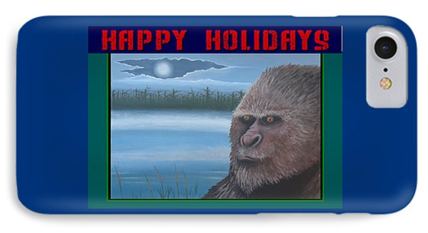 IPhone Case featuring the painting Bigfoot Happy Holidays by Stuart Swartz