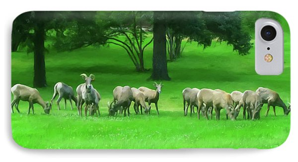 IPhone Case featuring the digital art Bighorn Sheep Ewes  by Chris Flees