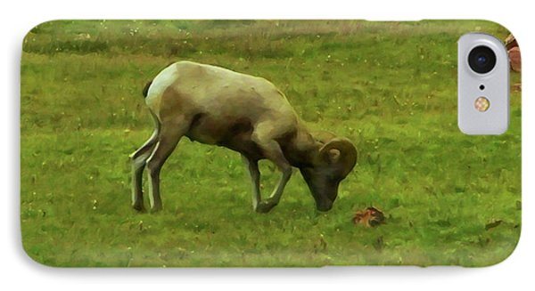IPhone Case featuring the digital art Bighorn Sheep Grazing by Chris Flees
