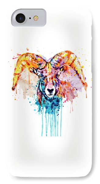 IPhone Case featuring the mixed media Bighorn Sheep Portrait by Marian Voicu
