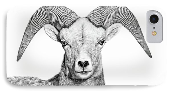 IPhone Case featuring the photograph Bighorn Sheep Ram Black And White by Jennie Marie Schell