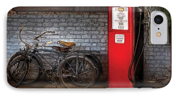 Bike - Two Bikes And A Gas Pump IPhone Case by Mike Savad