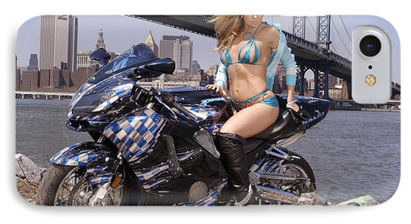 Bike, Babe, And Bridge In The Big Apple IPhone Case by Lawrence Christopher