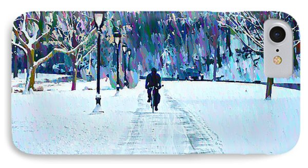 Bike Riding In The Snow IPhone Case by Bill Cannon