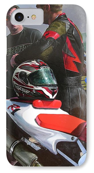 IPhone Case featuring the painting Bikers At The Horseshoe Pass by Harry Robertson