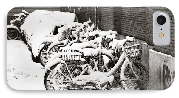 Bikes Parked And Full Of Snow IPhone Case