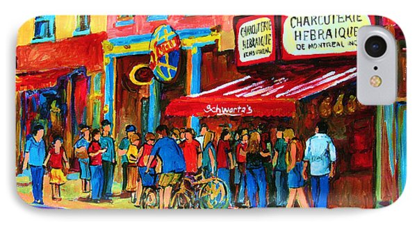 Biking Past The Deli IPhone Case by Carole Spandau
