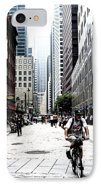 Biking The Streets Of New York City IPhone Case by Susan Stone