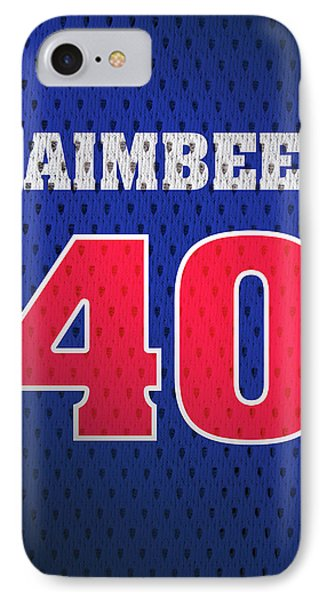 Bill Laimbeer Detroit Pistons Number 40 Retro Vintage Jersey Closeup Graphic Design IPhone Case