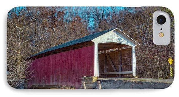 Billie Creek Covered Bridge - 16 IPhone Case by Jack R Perry