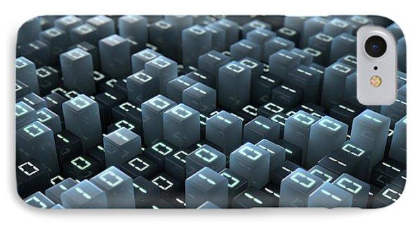 Binary Code Pixels IPhone Case by Allan Swart