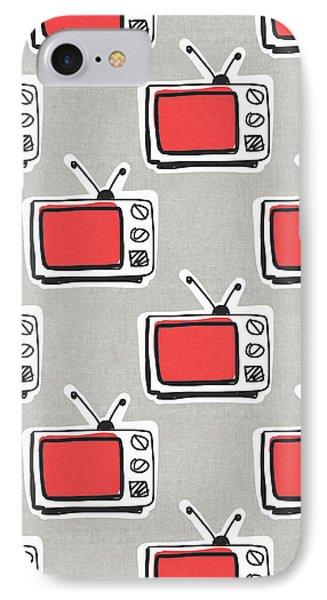 Binge Watching- Art By Linda Woods IPhone Case by Linda Woods