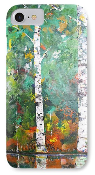 IPhone Case featuring the painting Birch In Color by Gary Smith