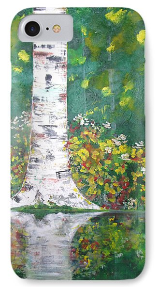 IPhone Case featuring the  Birch In Flowers by Gary Smith