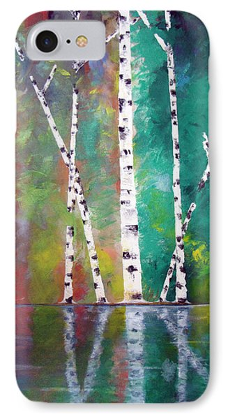 IPhone Case featuring the painting Birch On Bank by Gary Smith