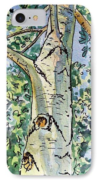 Birch Tree Sketchbook Project Down My Street Phone Case by Irina Sztukowski