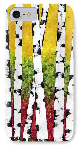 IPhone 7 Case featuring the mixed media Birch Forest Trees by Christina Rollo
