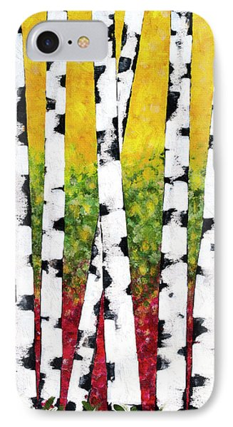 IPhone Case featuring the mixed media Birch Forest Trees by Christina Rollo