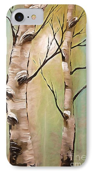Birch Trees Color Pencil  Phone Case by Heinz G Mielke