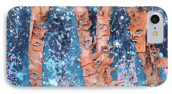 Birch Trees With Eyes IPhone Case by Genevieve Esson