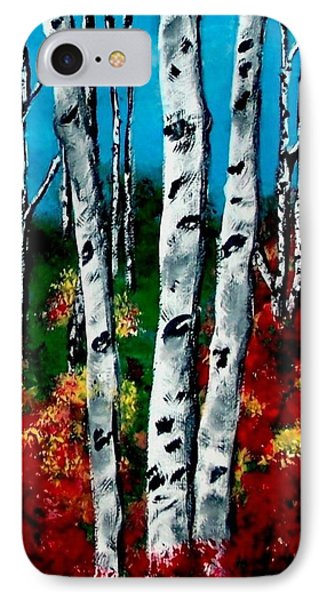 IPhone Case featuring the painting Birch Woods 2 by Sonya Nancy Capling-Bacle